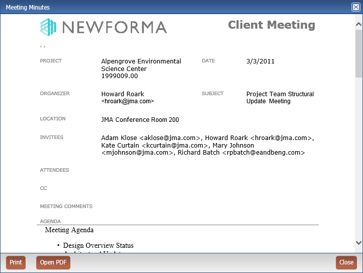 Newforma Info Exchange Eleventh Edition Help - Meeting Minutes Form