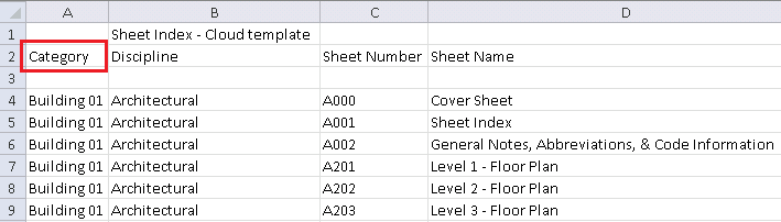 Export Sheet Index Information from Revit
